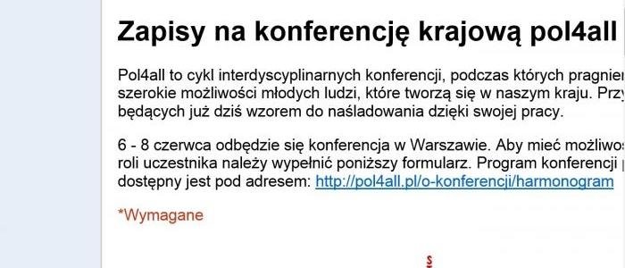 Krajowa konferencja pol4all - rejestracja uczestników ruszyła!